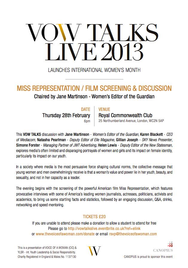 VOW TALKS LIVE 28 FEB 2013